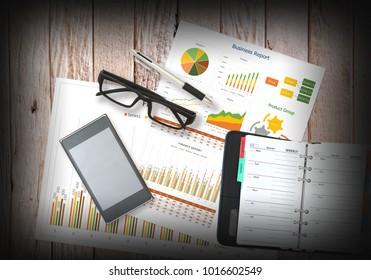 image of business and accessories flat lay on wooden background