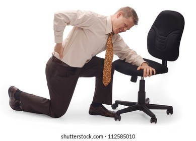 Image of business man hunched over holding his pack in pain.
