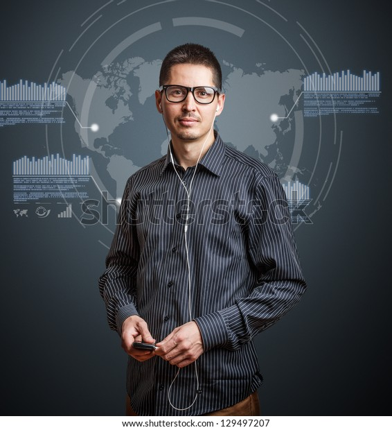 Image of business person with digital interface