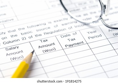 The image of business and tax form