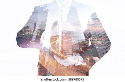 image of businessman with double exposure mix media.business concept