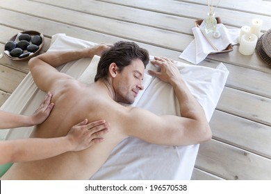 the image of businessman getting massage,Boracay in Philippine