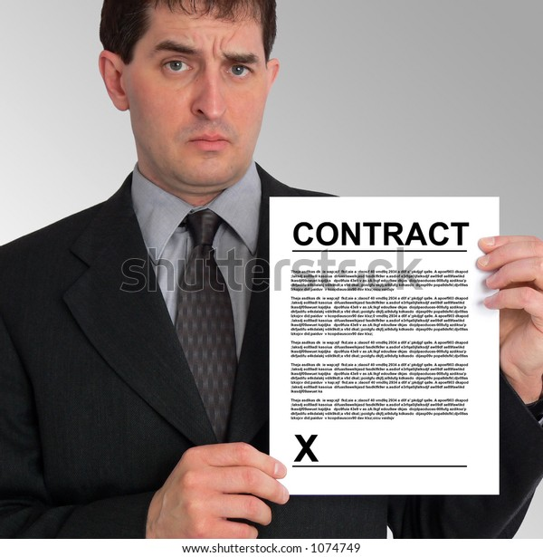 Image of a businessman holding a contract to his left, against a grey gradient background.