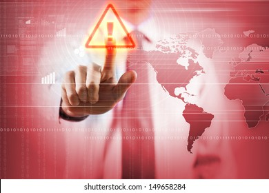 Image of businessman touching virus alert icon