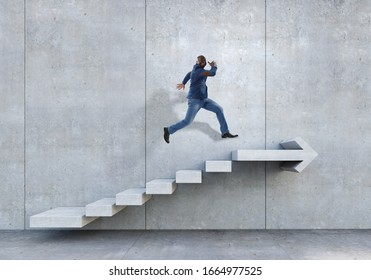 Image of businessman walking upstairs