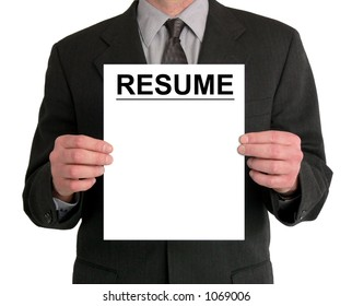 Image of a businessman's torso. He is holding a resume in front of him.