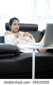 the image of businesswoman and working at home