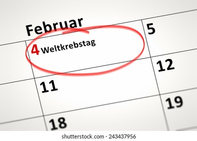 An image of a calendar detail shows february the 4th World Cancer Day in german language