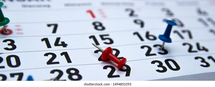 Image of a Calendar, a diary with special dates. The concept of planning our time.