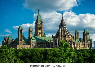 Image de la Colline du Parlement et des édifices du Parlement du Canada, siège du gouvernement fédéral du Canada, prise à l'arrière des édifices.