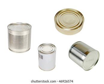 The image of cans under the white background