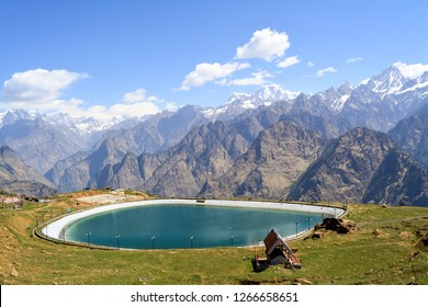 The image was captured at Auli in Indian state of Uttarakhand. It shows one of the highest man-made artificial lakes in the world - Auli Artificial Lake.