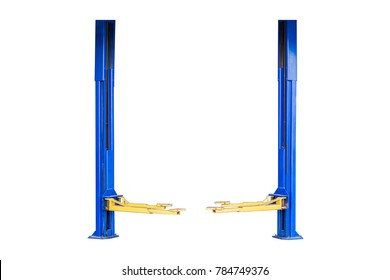 Image of a car repair lifts isolated under the white background / Car lifts