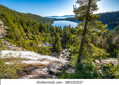 Image of Cascade Falls with Cascade Lake and Lake Tahoe in the background.
