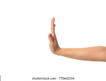 Image of caucasian woman hand stop palm gesture isolated on white background