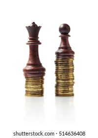 Image of chess pieces standing on stacks of coins isolated on white.  Money investment strategy concept image.