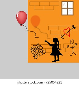 The image of a child drawn on the side of a building releases a red balloon into the real world in a surreal illustration.