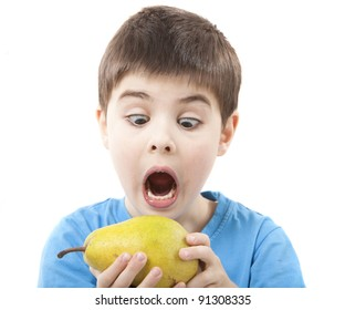 Image of a child eating a pear