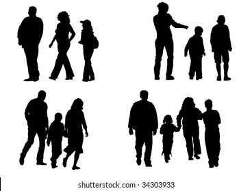 image of children and parents to walk. Silhouettes on a white background