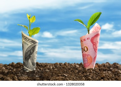 Image of China Yuan banknote and US dollar banknote with plant growing on top for business, saving, growth, economic concept