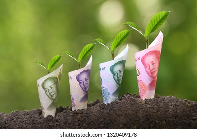 Image of China Yuan banknotes with plant growing on top for business, saving, growth, economic concept