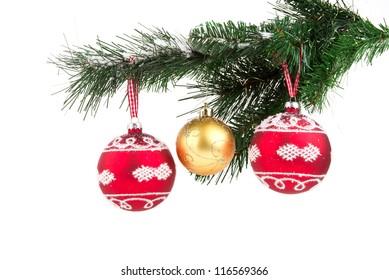 Image of christmas balls on christmas tree isolated