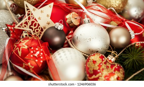 An image of Christmas decoration with glass balls