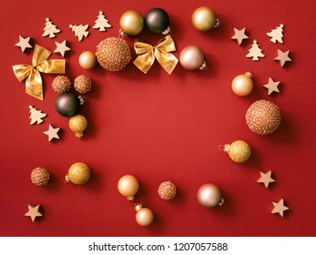 An image of Christmas decoration on red background
