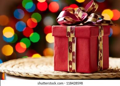 Image of Christmas giftbox on wattled tray