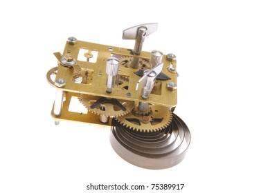 image of clock mechanism inside over white background