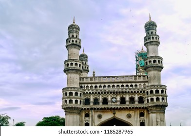 Image of the close up of one of the minars of the world famous site of Char Minar located in the Indian city of Hyderabad,Telangana