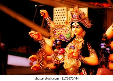 Image of closeup of Goddess Durga taken at a street side temple(pandals) that are set during the occassion of Durga Puja (a Indian festival popular in West Bengal) in the Indian city of Calcutta,West