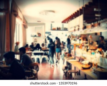 image of coffee shop - cafe blurred background. Vintage style
