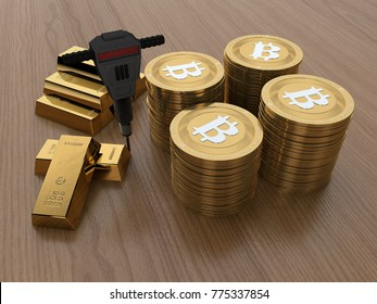 the image of the coins virtual international bitcoin cryptocurrency. Coins bitcoin gold. Next to gold bars and a hammer. 3D rendering. The idea of mining cryptocurrencies