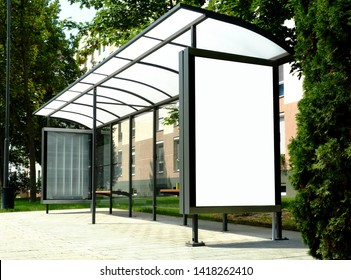 image collage of bus shelter at a bus stop of glass and aluminum  frame structure in park-like setting with green background and safety glass design. wooden benches and white poster ad display glass