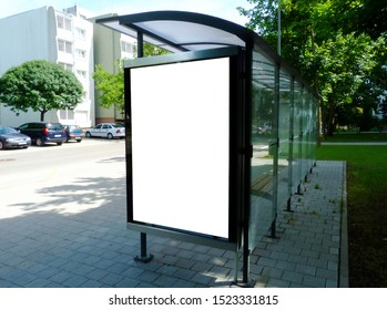 image collage of bus shelter at a bus stop. glass and aluminum frame structure. urban setting with green background. safety glass design. wooden benches. white poster ad display. advertising concept.