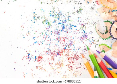 Image of color pencils on white background .For background user.