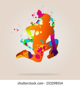 Image with color silhouette of dancer on color background