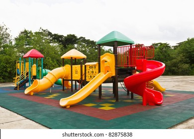 An image of a colorful children playground, without children