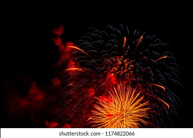 Image of a colorful fireworks display on dark sky background.