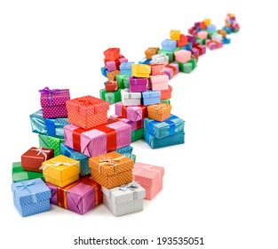 image of colorful gift boxes on white background