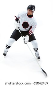 Image of concentrated hockey player during game