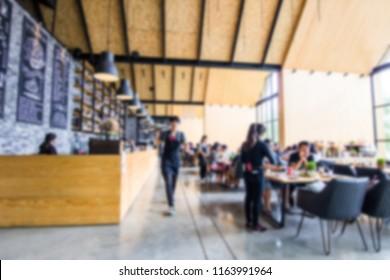 ฺBlur image concept of coffee shop and people Eating snacks and coffee
