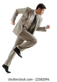 Image of confident businessman running on white background