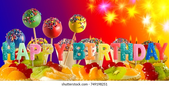 Image of congratulatory candles on a blurred background