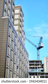 Image of the construction of 3 new hotels in Glasgow's St Enoch Quarter, Scotland. Image taken 30.04.2021