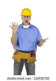 Image of a construction worker wearing yellow hard hat and eye wear screaming against white background