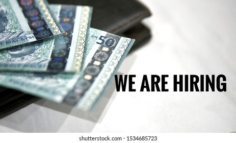 Image contains cash money and wordings We are hiring