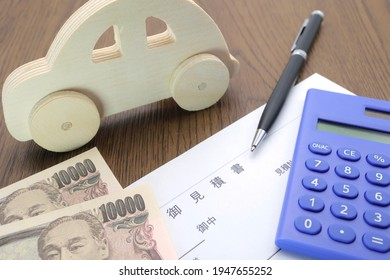 Image of costs related to cars. Translation: Quotation. Dear. Estimated number.