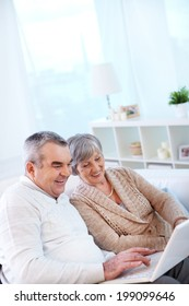 Image of couple of pensioners using laptop at home